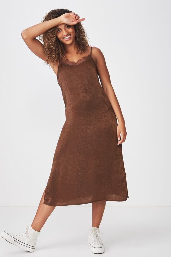Woven Audrey Lace Midi Slip Dress, CHESTNUT