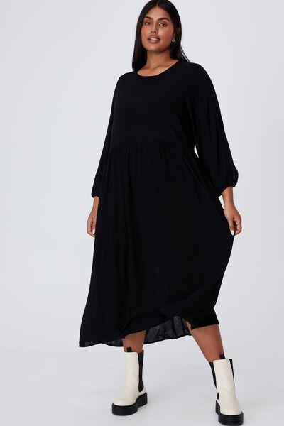 Curve Good Times Babydoll 3/4 Sleeve Maxi Dress, BLACK