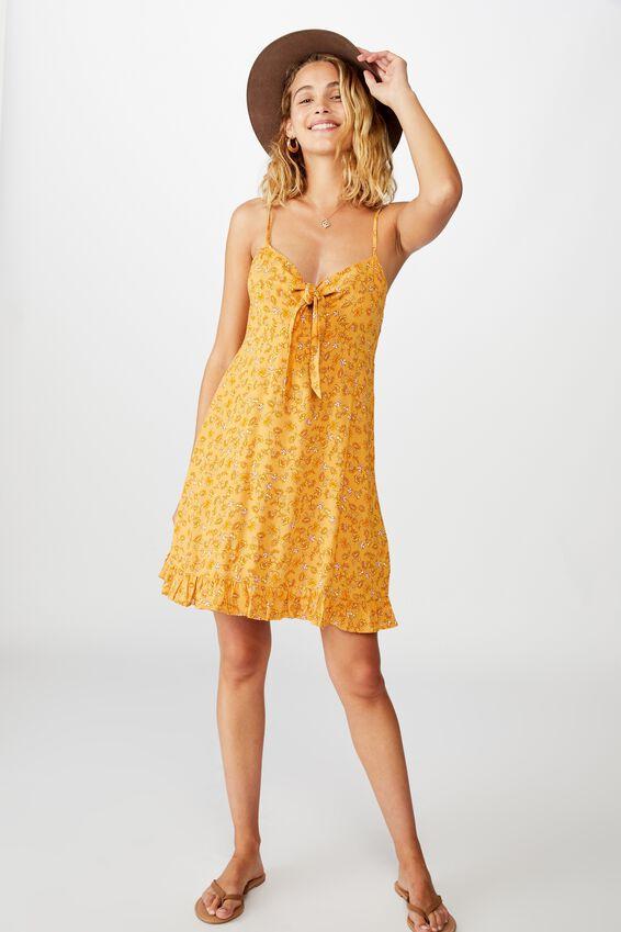 Woven Kiara Tie Front Mini Dress, RACHAEL FLORAL HONEY GOLD