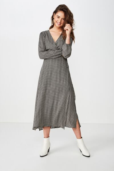 Woven Ivy Sleeved Maxi Dress, ISSY CHECK BLACK