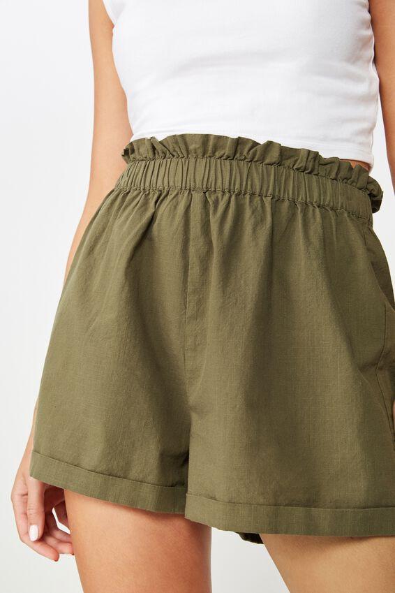 Maisy Paperbag Short, BURNT OLIVE