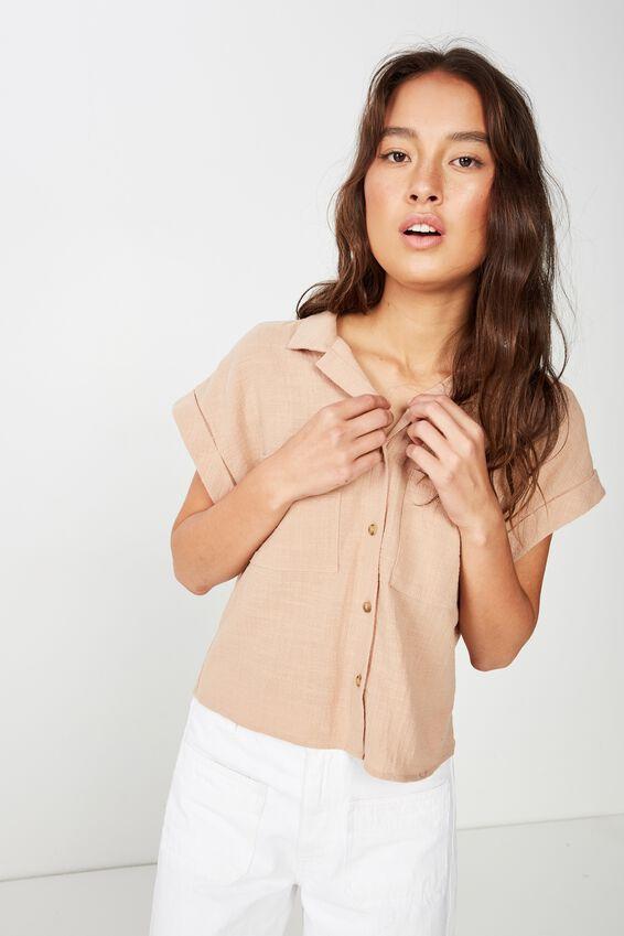 Emily Chopped Short Sleeve Shirt, BRUSH TEXTURE