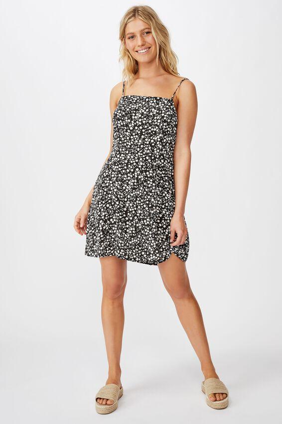 Woven 90S Mini Dress, TAYLAH DITSY PIRATE BLACK
