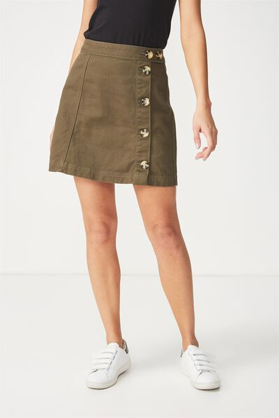 The Re-Made Mini Denim Skirt, BUTTON THROUGH KHAKI