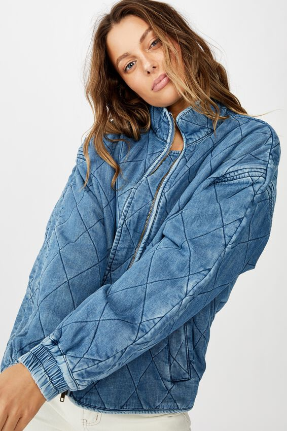 Toni Quilted Bomber, CHAMBRAY