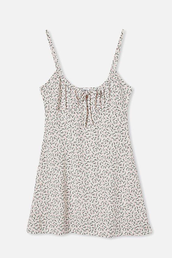 Tinsley Tie Front Mini Dress, HILDA DITSY WHITE