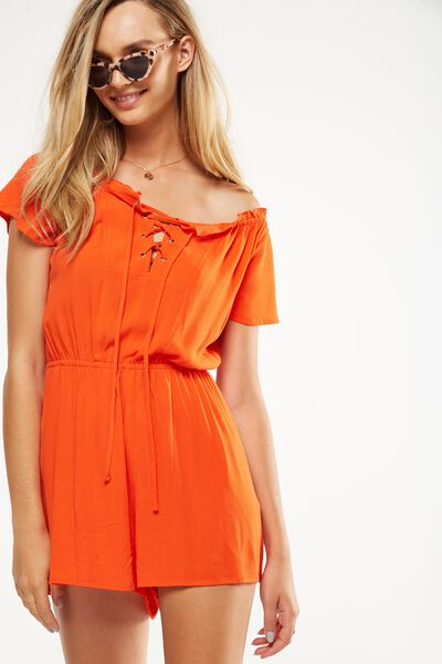 Woven Emma Lace Up Playsuit, CHERRY TOMATO
