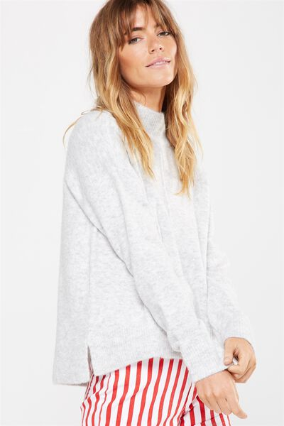 Renee Curved Hem Luxe Pullover, CLEAN GREY MARLE