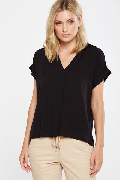 Susan Short Sleeve Top, BLACK