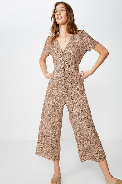 Woven Juniper Short Sleeve Jumpsuit, CHLOE MINI ANIMAL BROWN