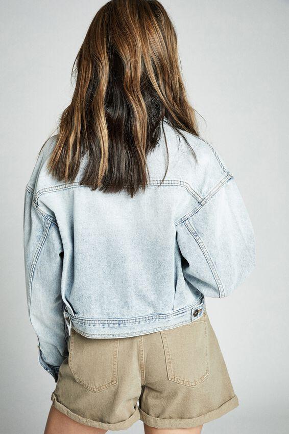 Oversized Pocket Cropped Denim Jacket, FADED AUTHENTIC BLUE