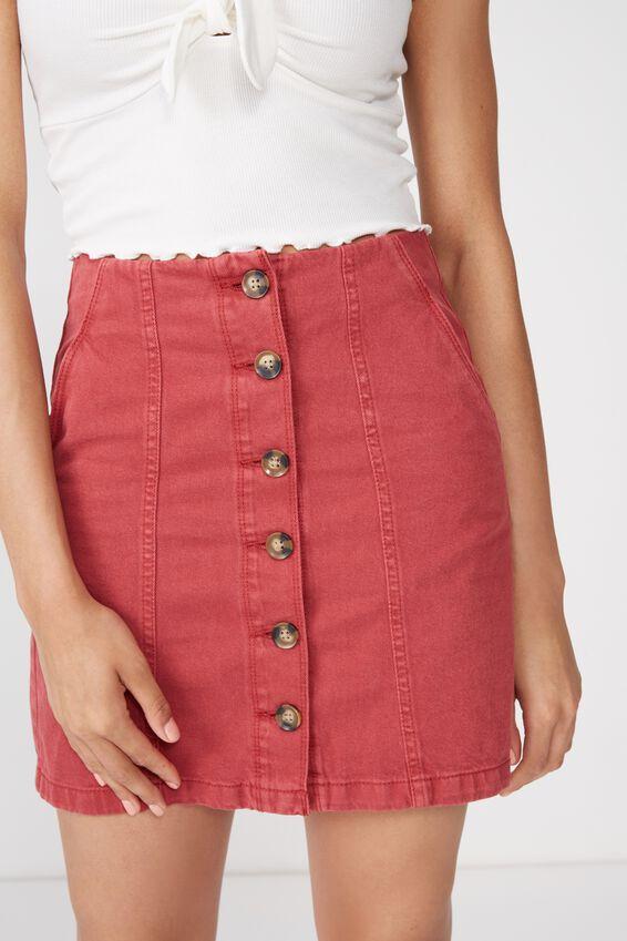 Button Through Denim Skirt, ROSEWOOD