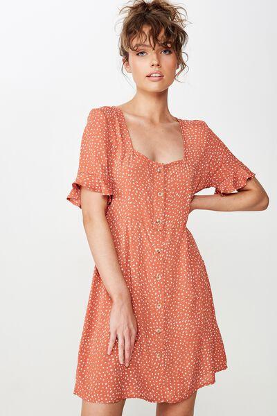 Woven Stacey Short Sleeve Tea Dress, ABAGAIL SPOT BRUSCHETTA