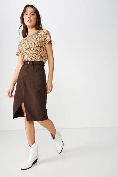 Midi Denim Skirt, BROWNIE