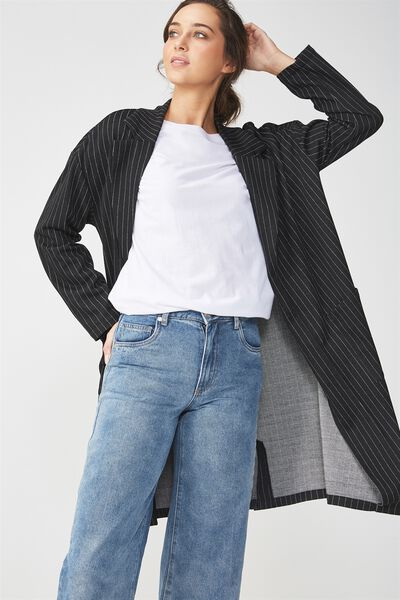 Longline Stretch Blazer, BLACK/WHITE PINSTRIPE