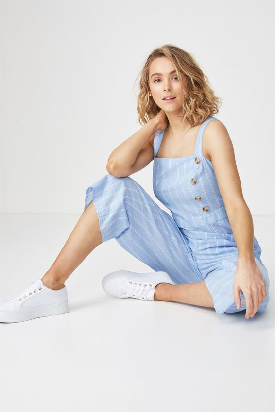 Woven Florence Strappy Jumpsuit, ALBA STRIPE PRAIRIE BLUE