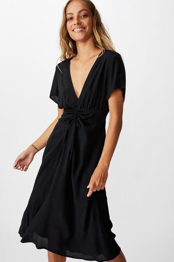 Woven Issa Gathered Front Midi Dress, BLACK