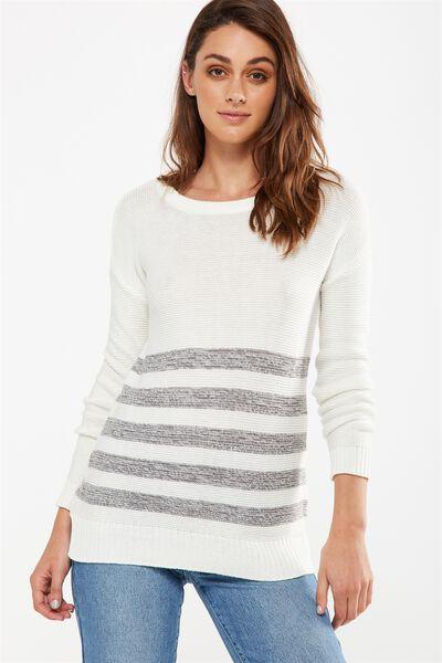 Archy 4 Pullover, WHITE GREYS TWIST STRIPE