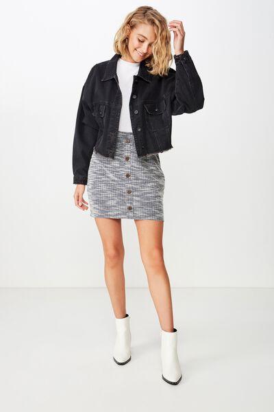 Gia Button Mini Skirt, MOONLIGHT TWIST