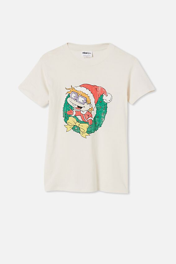 Classic Christmas License T Shirt, LCN NIC RUGRATS CHUCKIE XMAS/WHITE SAND