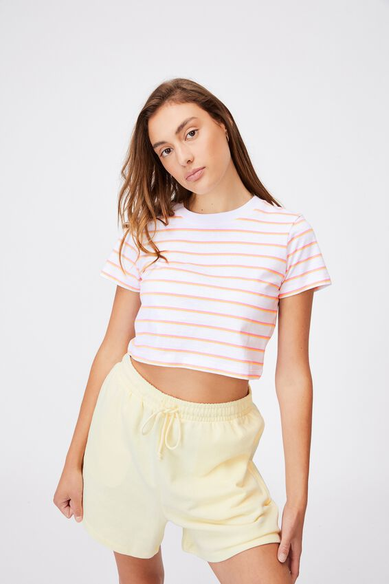 The Baby Tee, MINI RETRO STRIPE WHITE