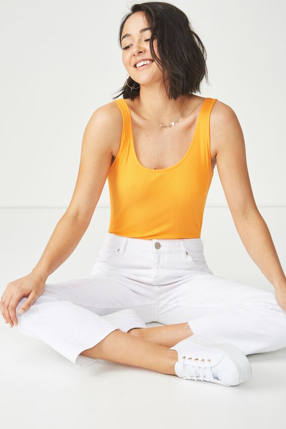 Sadie Scoop Sleeveless Bodysuit, CITRUS ORANGE