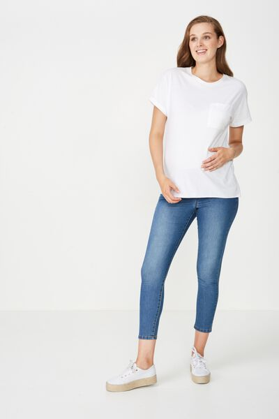 Mid Rise Maternity Jegging, MID SEA BLUE