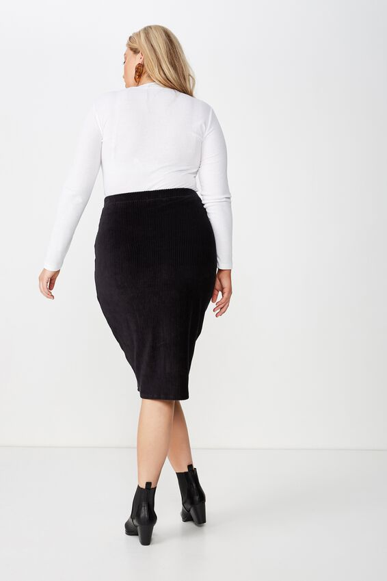 Curve Textured Tube Cord Skirt, BLACK
