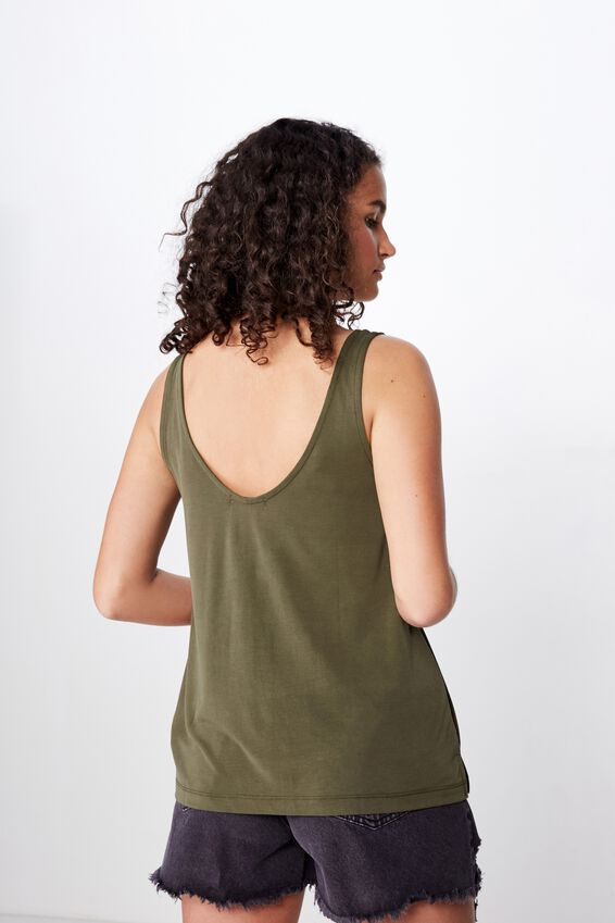 Tia Scooped High Low Tank, OLIVE NIGHT