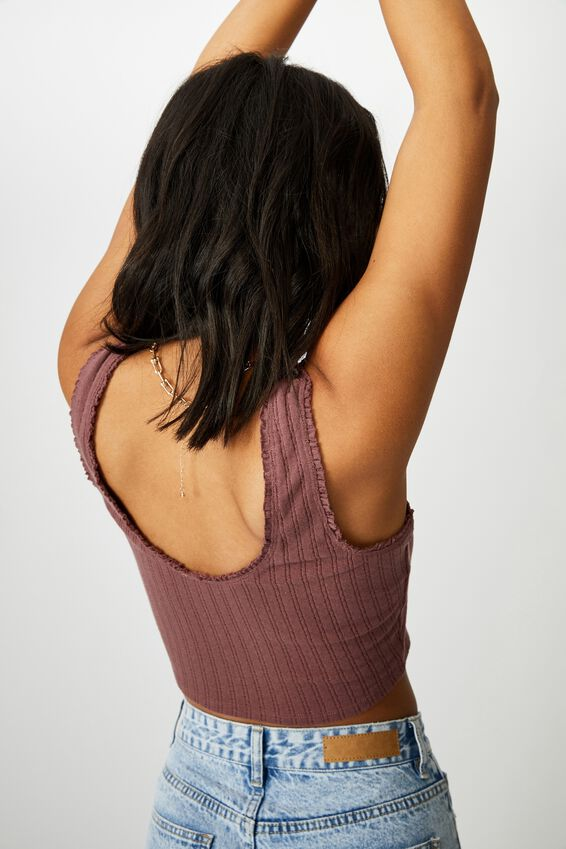 The Harvie Ruffle Tank, DUSTY PLUM