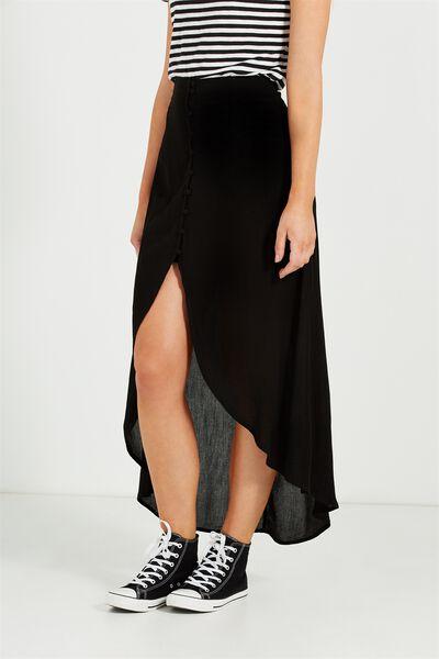 Woven Alfie Maxi Skirt, BLACK