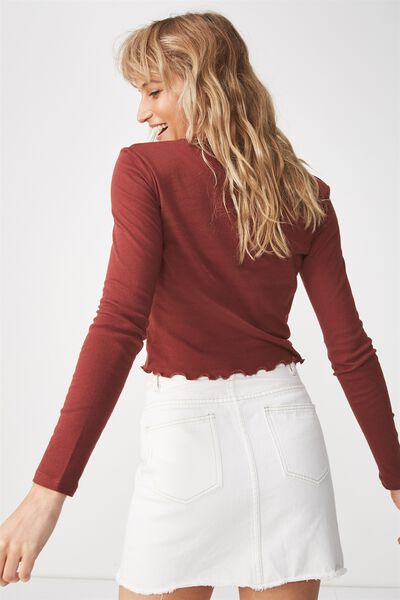 Shelly Crop Babylock Long Sleeve, RICH BROWN