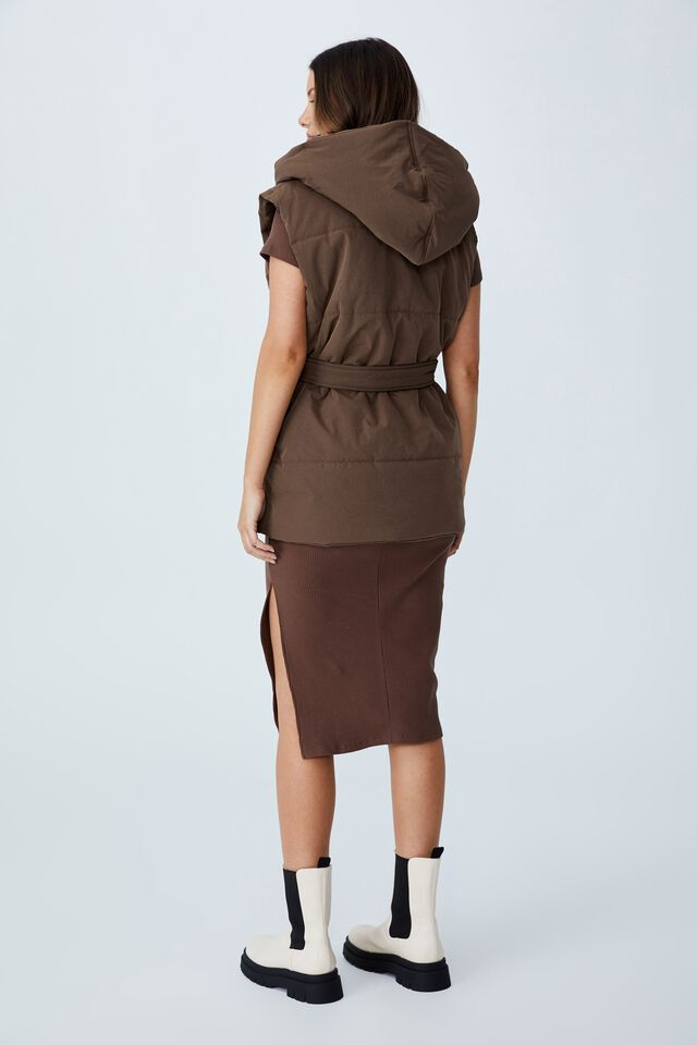 Recycled Hooded Padded Vest, CHOCOLATE BROWN