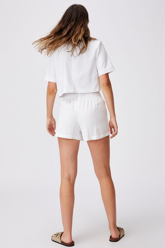 Ultimate Linen Short Sleeve Crop Blazer, WHITE