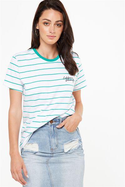Tbar Fox Graphic T Shirt, DUBLIN GOLF GREEN STRIPE/WHITE