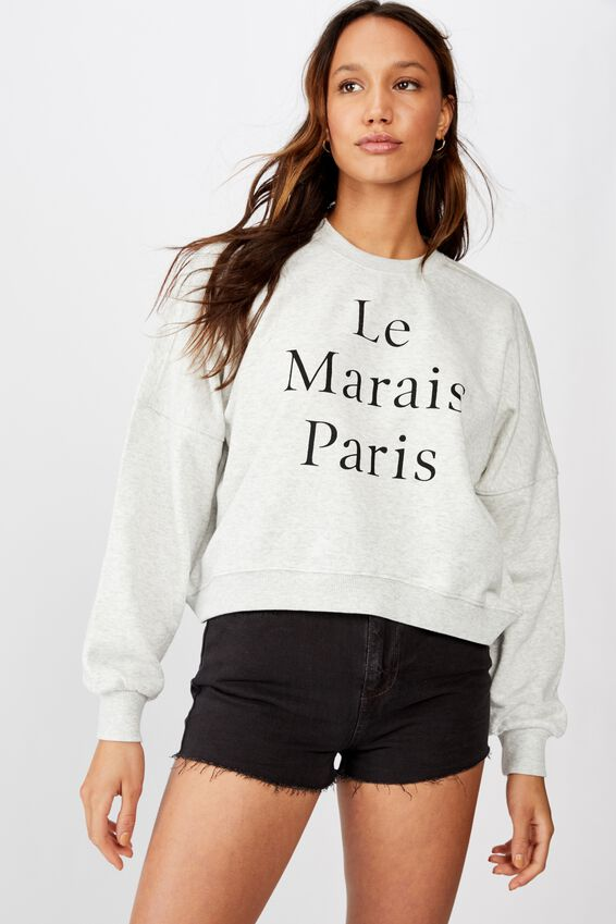 Harper Boxy Crew Graphic Fleece, LE MARAIS/OAT MARLE