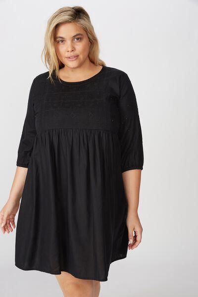 Curve Woven Bethany Babydoll Dress, BLACK