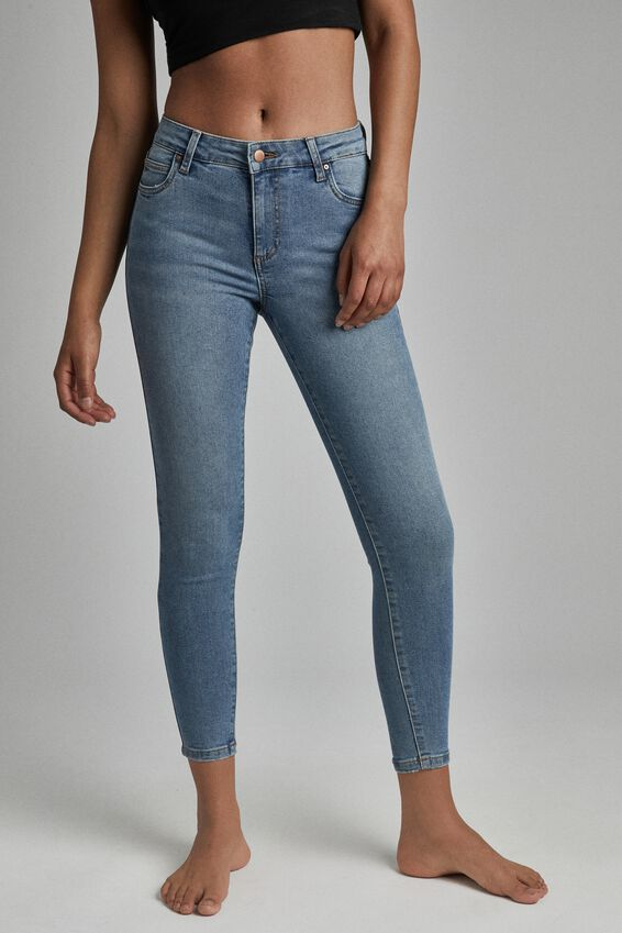Mid Rise Cropped Skinny Jean, JETTY BLUE
