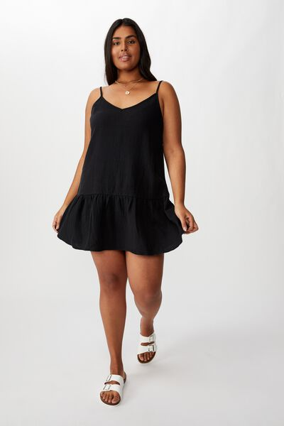 Curve Drop Hem Beach Dress, BLACK