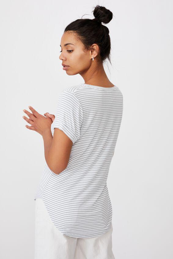 Karly Short Sleeve V Neck Top, JOSIE STRIPE WHITE/CHINOIS GREEN