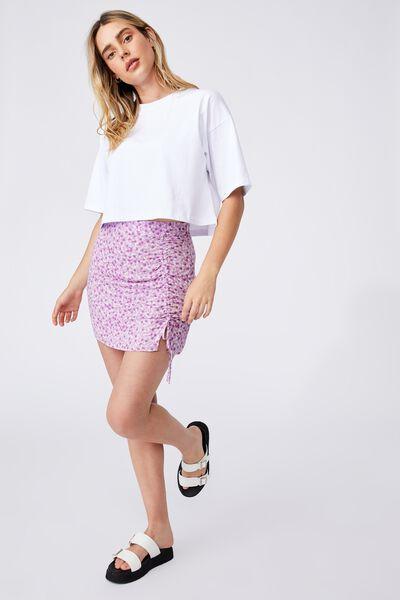 Lola Ruched Side Mini Skirt, QUINN DITSY LILAC