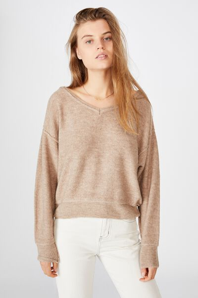 Luxe Fine Gauge V Pullover, NATURAL