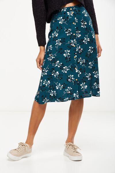 Woven Ryder Midi Skirt, NADENE DISTY FLORAL VELVETY GREEN