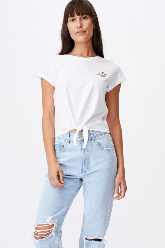 Tie Front Graphic Tee, FLORAL BUNNY/WHITE