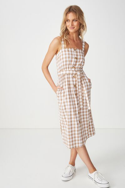 Woven Lyric Button Through Midi Dress, DARIA GINGHAM LATTE- FC