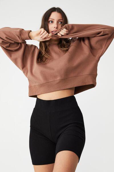 Classic Cropped Sweatshirt, COCOA BEAN