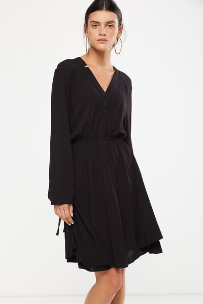 Woven Shania Long Sleeve Dress, BLACK