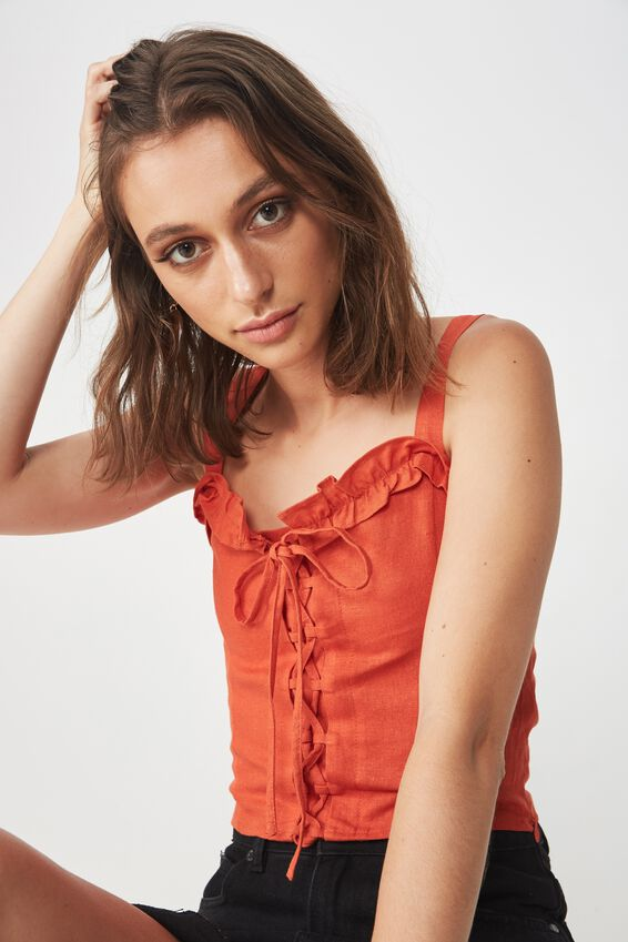 Lizzy Lace Up Top, BURNT OCHRE
