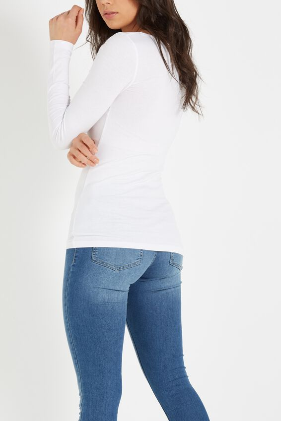 Every Day Long Sleeve Fitted Top, WHITE