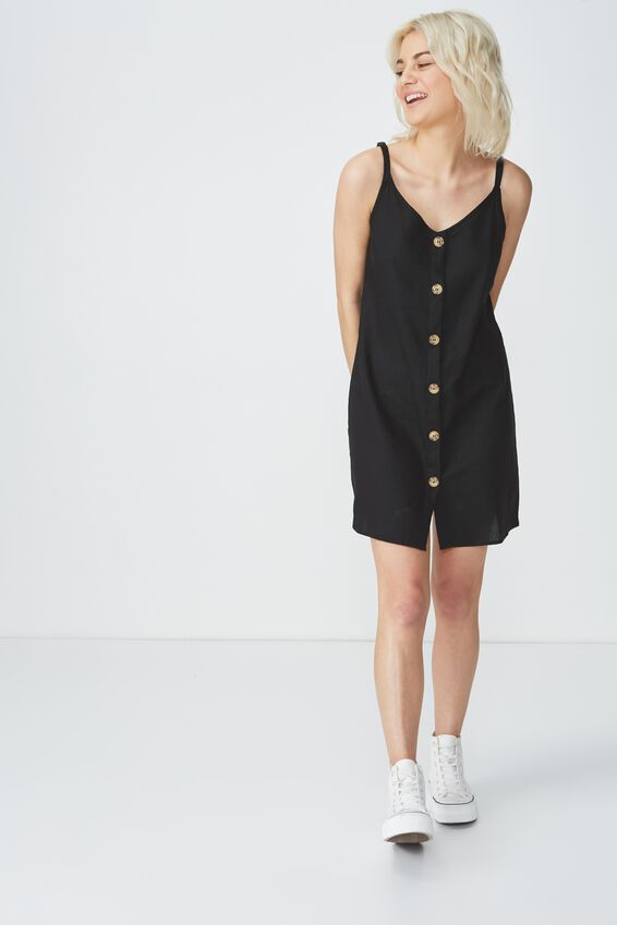 Woven Margot Slip Dress, BUTTON THROUGH BLACK